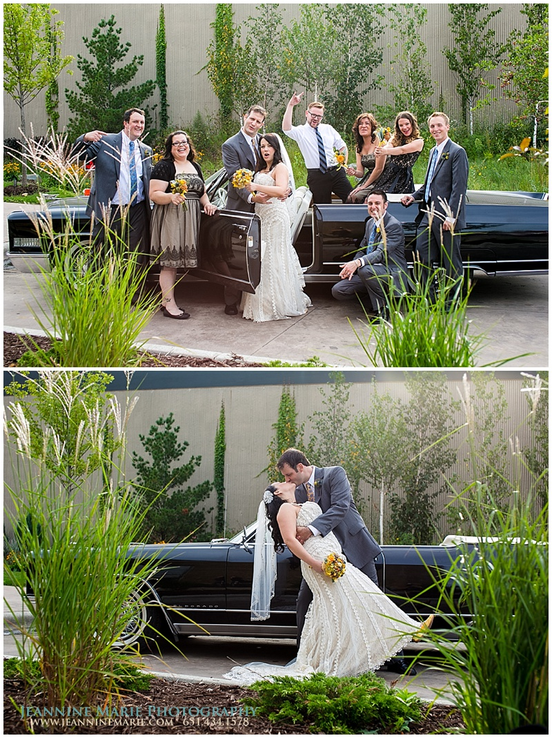 bridal party poses, bridal party with car, 612Brew, Minneapolis wedding venues, brewery wedding, Twin Cities wedding photographer, Jeannine Marie Photography_0530