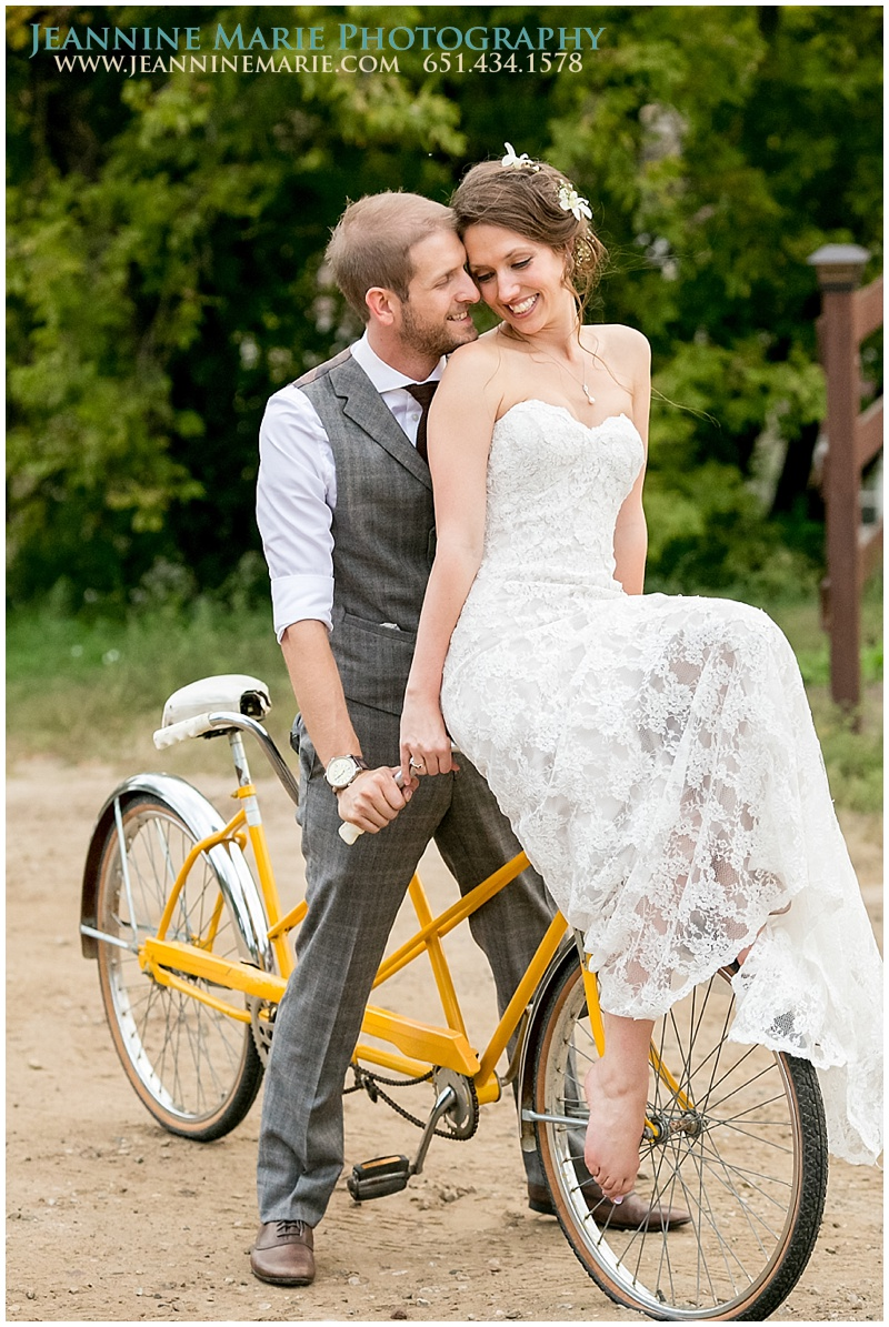 bride and groom on bike, bride and groom poses, outdoor ceremony, Hope Glen Farm, Twin Cities rustic wedding venues, Saint Paul wedding photographer, Jeannine Marie Photography_0830