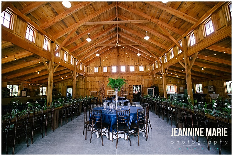 BWB Ranch, wedding reception, blue and green wedding, barn, centerpieces, tables, decorations