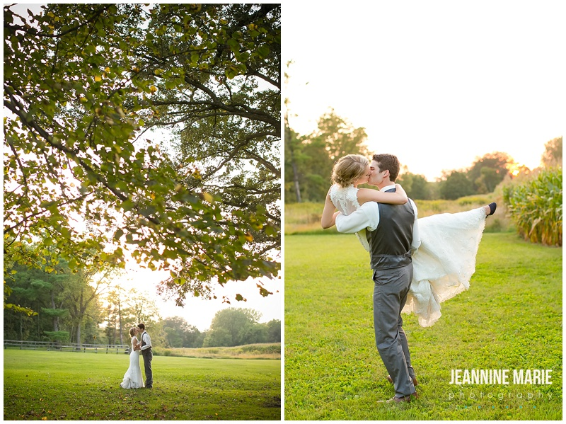Mayowood Stone Barn, bride, groom, wedding, portraits, poses, couple, kiss, tree, tree branches, groom picking up bride