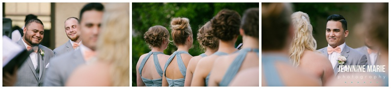 Minnesota Boat Club, MN, wedding, ceremony, outdoor, outside, groomsmen, bridesmaids, blue bridesmaids dresses, bride, vow exchange, wedding