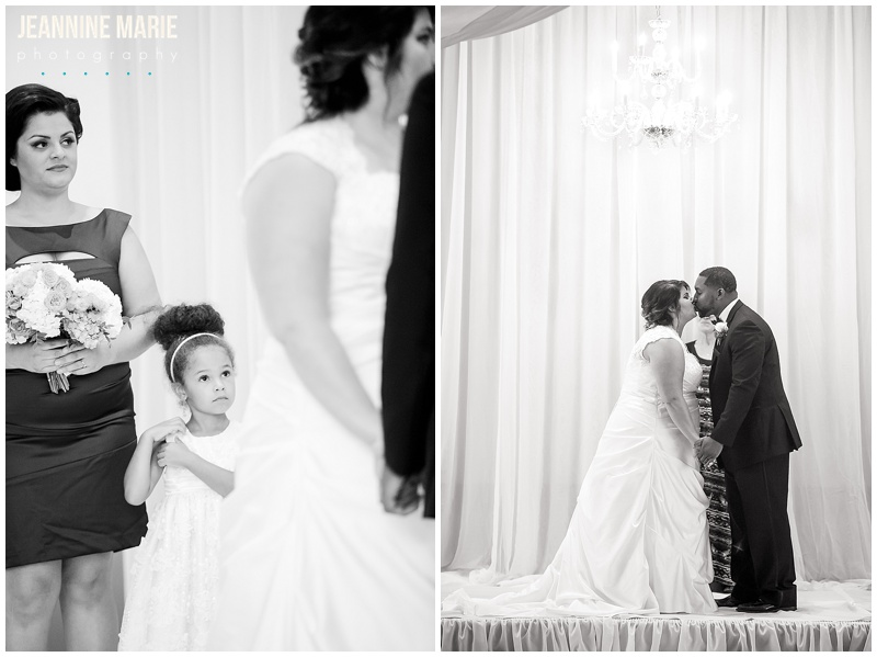 River City Extreme, bride, groom, wedding, ceremony, indoor, flower girl, kiss, backdrop, draping