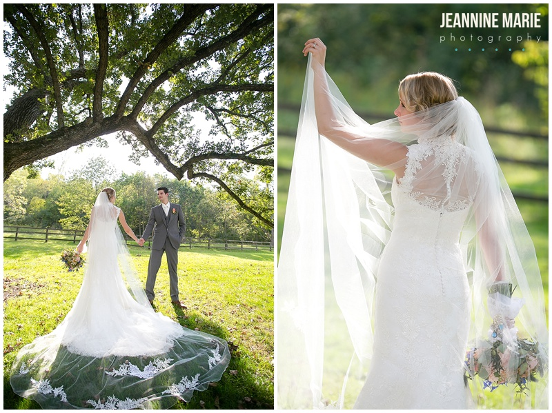Mayowood Stone Barn, bride, groom, portraits, outside, tree, long veil, wedding dress, cathedral veil, bridal gown, bride, veil