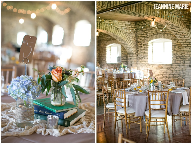 Mayowood Stone Barn, wedding, indoor, reception, room, table, chairs, centerpieces, books, vases, flowers, floral, decor, decorations, inspiration