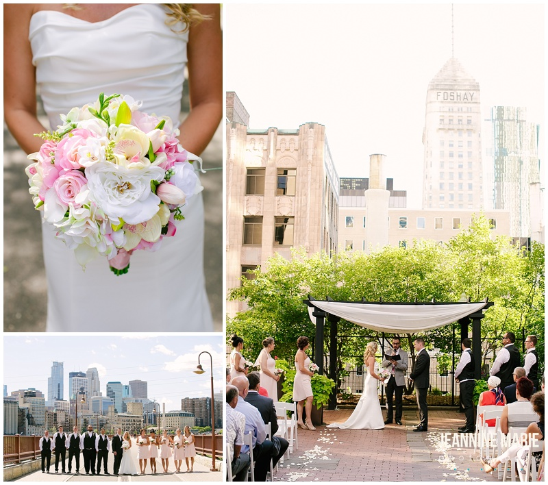 Crowne Plaza Northstar, bridel bouquet, flowers, pink and yellow flowers, bride, bridal party, Stone Arch Bridge, groomsmen, bridesmaids, bride, groom, ceremony, aisle decor