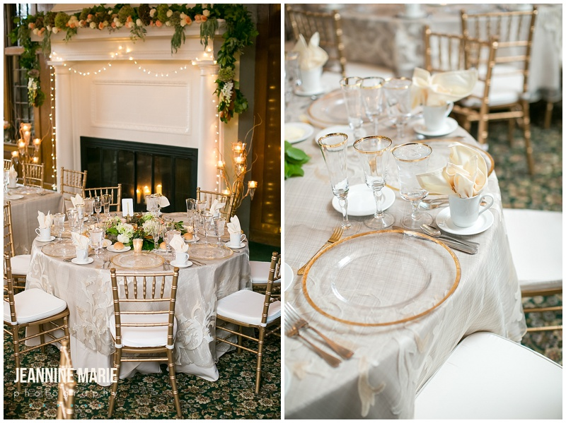 University of St. Paul Club, reception, wedding, chairs, fireplace, garland, china, plates, place settings, tables, centerpieces