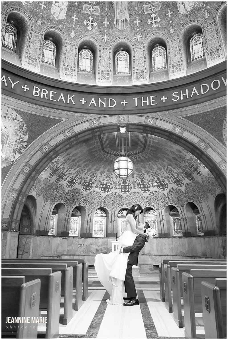 Lakewood Memorial Chapel, bride, groom, lift, pews, art, ceiling, chapel, church, wedding