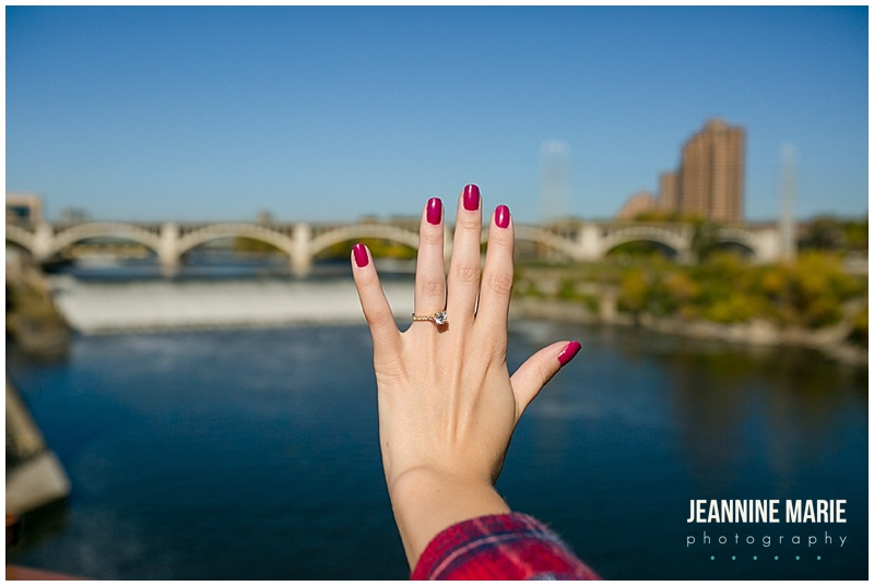 Stone Arch Bridge, proposal, marriage proposal, ring, ring shot, woman, hand, city, Minneapolis, city skyline