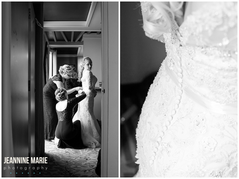 Ramada Plaza Minneapolis, bride, getting ready, wedding gown, dress, Mori Lee, Wedding Shoppe