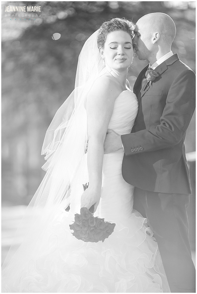 Saint Paul Hotel, bride, groom, wedding, black and white photo, bridal bouquet, wedding gown