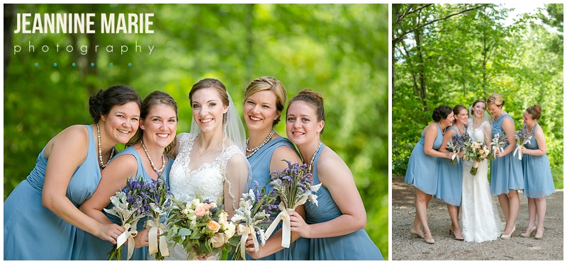 Bridesmaids poses at BWB Ranch in Minnesota