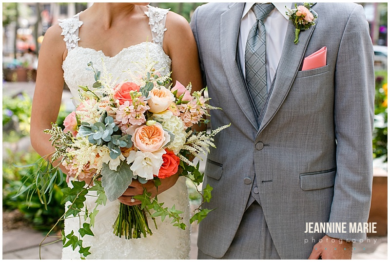 Mears Park, Lowertown Event Center, park wedding, Saint Paul wedding, Saint Paul park wedding, outdoor wedding, boutonniere, bridal bouquet, bride, groom, wedding gown, wedding dress, gray suit