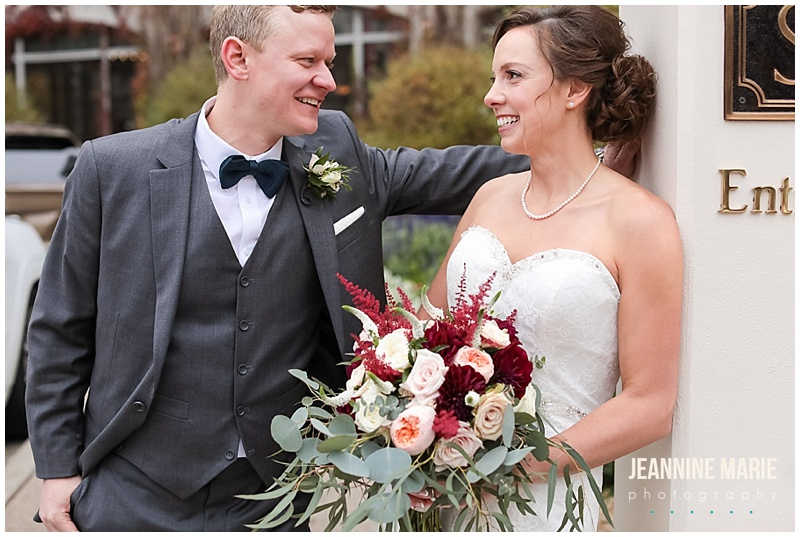 Harriet Island Pavilion, fall wedding, Twin Cities wedding, Mississippi River, Minnesota wedding, Jeannine Marie Photography, Minneapolis wedding photographer, Twin Cities wedding photographer, groom, bride, fall flowers, fall bouquet, bridal bouquet, groom attire, boutonniere
