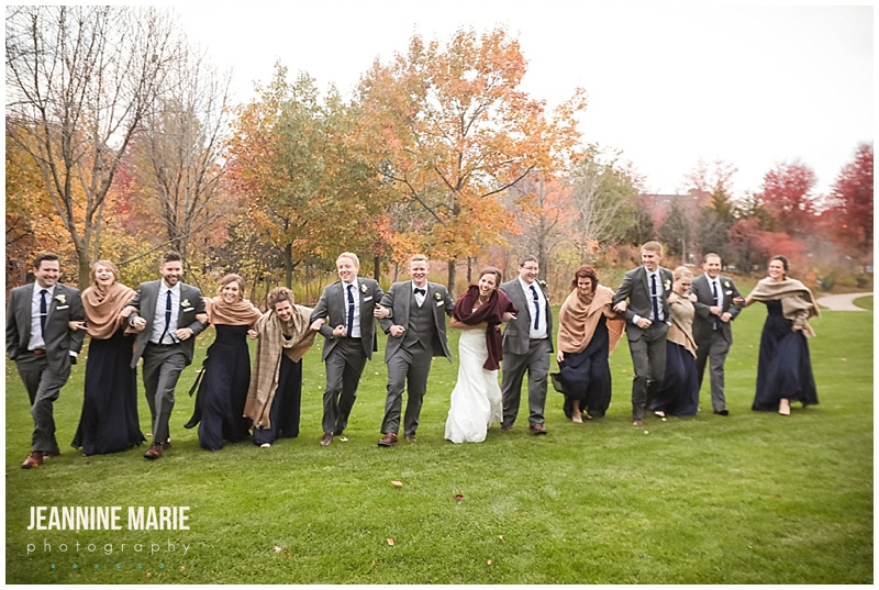 Harriet Island Pavilion, fall wedding, Twin Cities wedding, Mississippi River, Minnesota wedding, Jeannine Marie Photography, Minneapolis wedding photographer, Twin Cities wedding photographer,  wedding party, bride, groom, bridesmaids, groomsmen, bridesmaids dresses, blue bridesmaids, groom attire