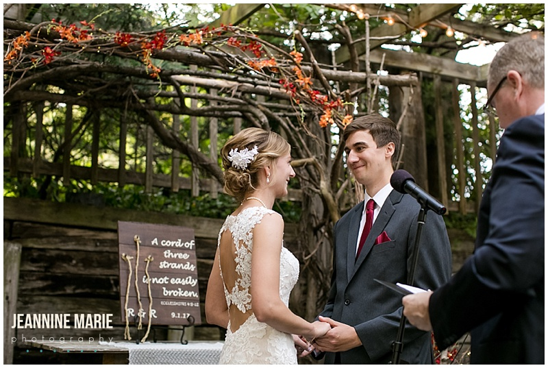 The Gardens of Castle Rock, burgundy wedding, fall wedding, wedding inspiration, rustic wedding, outdoor wedding, tent wedding, Jeannine Marie Photography, Minnesota wedding photographer, Saint Paul wedding photographer, wedding ceremony, bride, groom, fall wedding ceremony, fall wedding decor