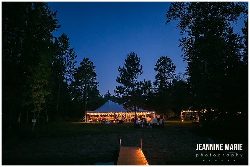 night shot, tent wedding, wedding reception, woods, Camp Thunderbird, Lumberjack wedding, camping wedding, woodsy wedding, wedding in the woods, Bemidji wedding, Bemidji wedding photographer, Minnesota wedding photographer, Jeannine Marie Photography, summer wedding, plaid wedding, outdoor wedding, Up North wedding, Northern Minnesota wedding, Jewish Wedding, KD Floral, Fozzies BBQ, The Lost Walleye Orchestra, The Party Store, Crystal Greene, Anthropologie, Minnesota wedding