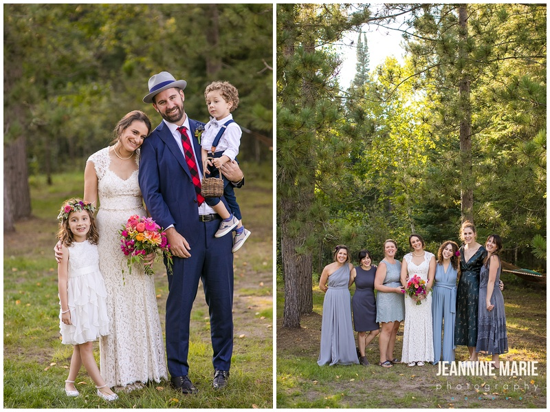 bride, groom, wedding party, bridesmaids, ring bearer, flower girl, bridal bouquet, pink flowers, Camp Thunderbird, Lumberjack wedding, camping wedding, woodsy wedding, wedding in the woods, Bemidji wedding, Bemidji wedding photographer, Minnesota wedding photographer, Jeannine Marie Photography, summer wedding, plaid wedding, outdoor wedding, Up North wedding, Northern Minnesota wedding, Jewish Wedding, KD Floral, Fozzies BBQ, The Lost Walleye Orchestra, The Party Store, Crystal Greene, Anthropologie, Minnesota wedding