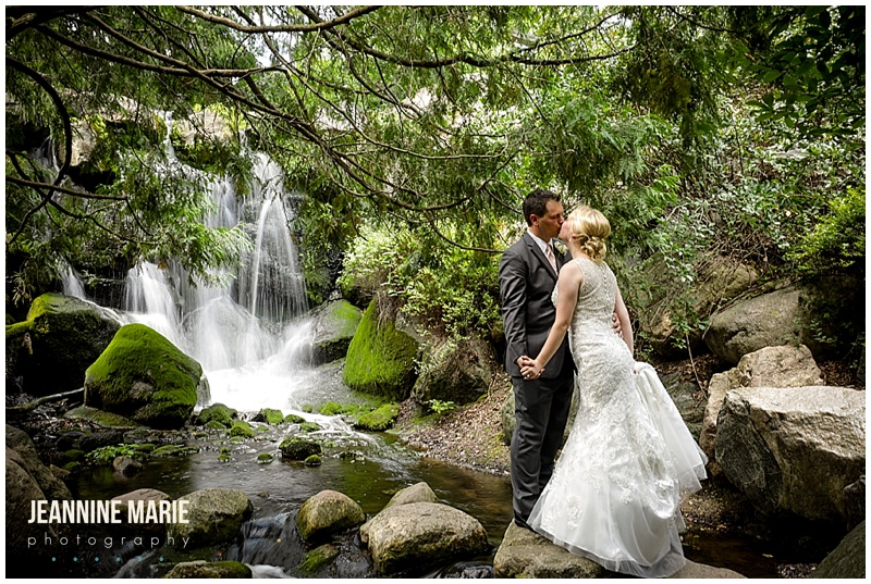waterfall, small waterfall, garden, bride, groom, kiss, wedding portraits, Minnesota Landscape Arboretum, Hazeltine National Golf Course, Petit Four FIlms, KMB Floral, The Thirsty Whale Bakery, Illuminations by Lori Cole, Instant Request DJ, SM Hair and Makeup, The Wedding Shoppe, Men's Wearhouse, outdoor wedding, garden wedding, blush wedding, Minnesota wedding venues, Twin Cities wedding venues, Minnesota wedding photographer, Saint Paul wedding photographer, Jeannine Marie Photography