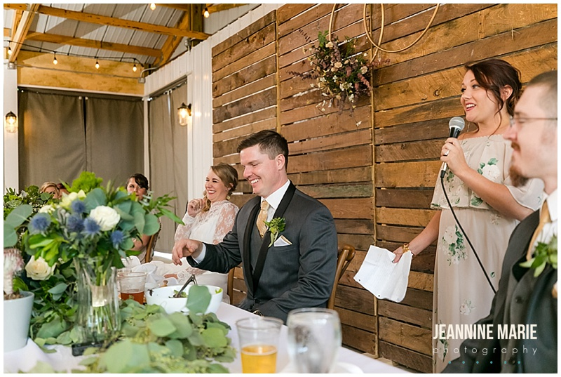 bride, groom, laughing, maid of honor speech, The Round Barn, Jeannine Marie Photography, Minnesota wedding photographer, Saint Paul wedding photographer, barn wedding, farm wedding, rustic wedding, Minnesota barn wedding, Minnesota farm wedding, vintage wedding gown, vintage wedding, Heather Rosales, Artemisia Studios, A'Britin Catering, Valley Pastries, Midwest Sound, Roadkill, Liana Harding, Katie Brown Studios, JenMar Creations, DSW, ShowMeYourMumu, Savvi Formalwear, Minnesota Coaches, wedding inspiration, Minnesota wedding, Round Barn Farm wedding photographer, outdoor wedding, field wedding, September wedding, Minnesota Bride, Midwest Bride