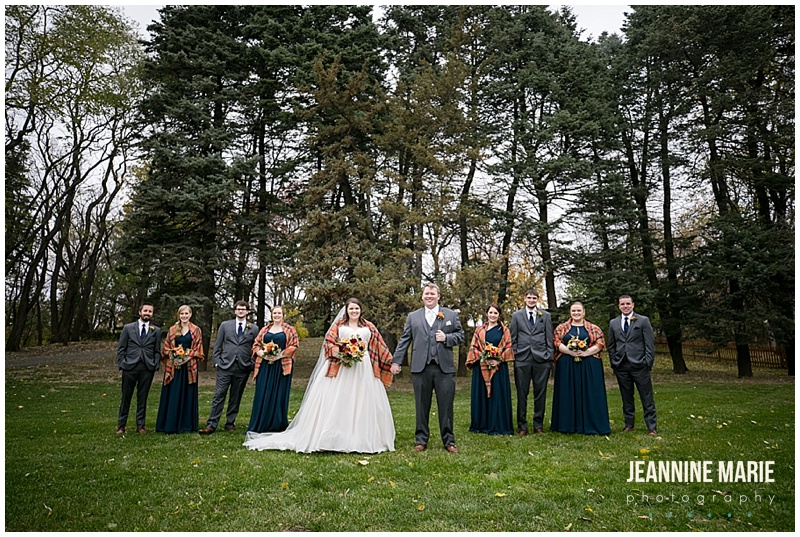 bride, groom, navy bridesmaids dresses, groomsmen, gray suits, navy ties, fall wedding, navy wedding, church wedding, Grace Lutheran Church, The Pavilion at Lake Elmo, Lakeside Floral, Lunds & Byerlys, Bellagala, Salon Ultimo, Luxe Bridal, Azazie, The Foursome, November wedding, Jeannine Marie Photography, Minnesota wedding photographer, Saint Paul wedding photographer