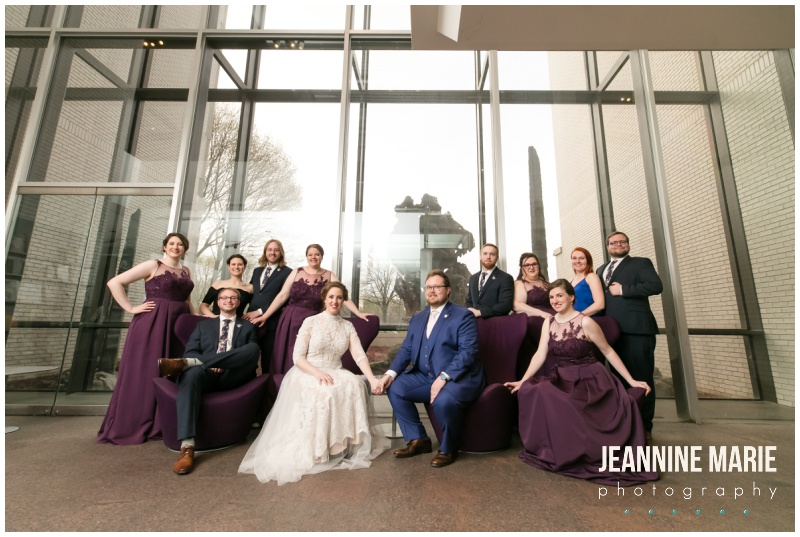 bride, groom, bridesmaids, groomsmen, bridal party, purple bridesmaids dresses, navy suit, vibrant wedding colors,Minneapolis Institute of Art, MIA, museum, art museum, MIA wedding, Minneapolis Institute of Art wedding, art museum wedding, unique Minneapolis wedding venues, Minneapolis museums, museum wedding, Jeannine Marie Photography, Minneapolis wedding photographer, Rosetree Weddings, Deco Catering, A B Rich Films, Bluewater Kings Band, Surdky's, wooden flowers, Minneapolis wedding, Minneapolis wedding photographer, purple wedding, purple and red wedding