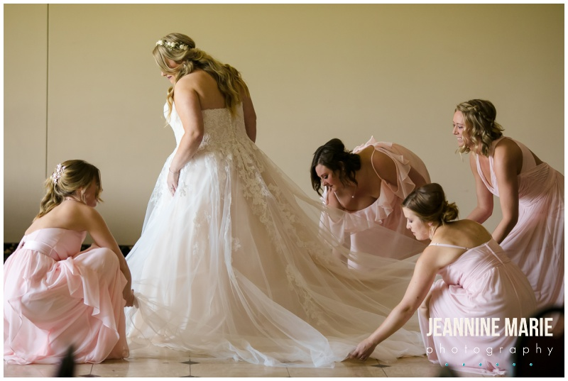 bride, wedding gown, bridal dress, ballgown dress, blush bridesmaids dresses, Courtyards of Andover, Melanie T Moy, Unique Dining Experiences Catering, Buttercream, Instant Request DJ, Mirror Me Perfect, Minnesota Officiants, Amata Salon, Lindsay Dukes Photography, Raffine Bridal, David's Bridal, Men's Wearhouse, Jeannine Marie Photography, Minnesota wedding photographer, Minneapolis wedding photographer, Courtyards of Andover wedding photographer, wedding photography, Minnesota wedding photography, wedding photographers near me, best Minnesota wedding photography, intimate wedding, budget wedding, blush wedding, summer wedding, pink wedding, pink flowers, outdoor wedding ceremony, ballroom wedding, Minnesota wedding venues