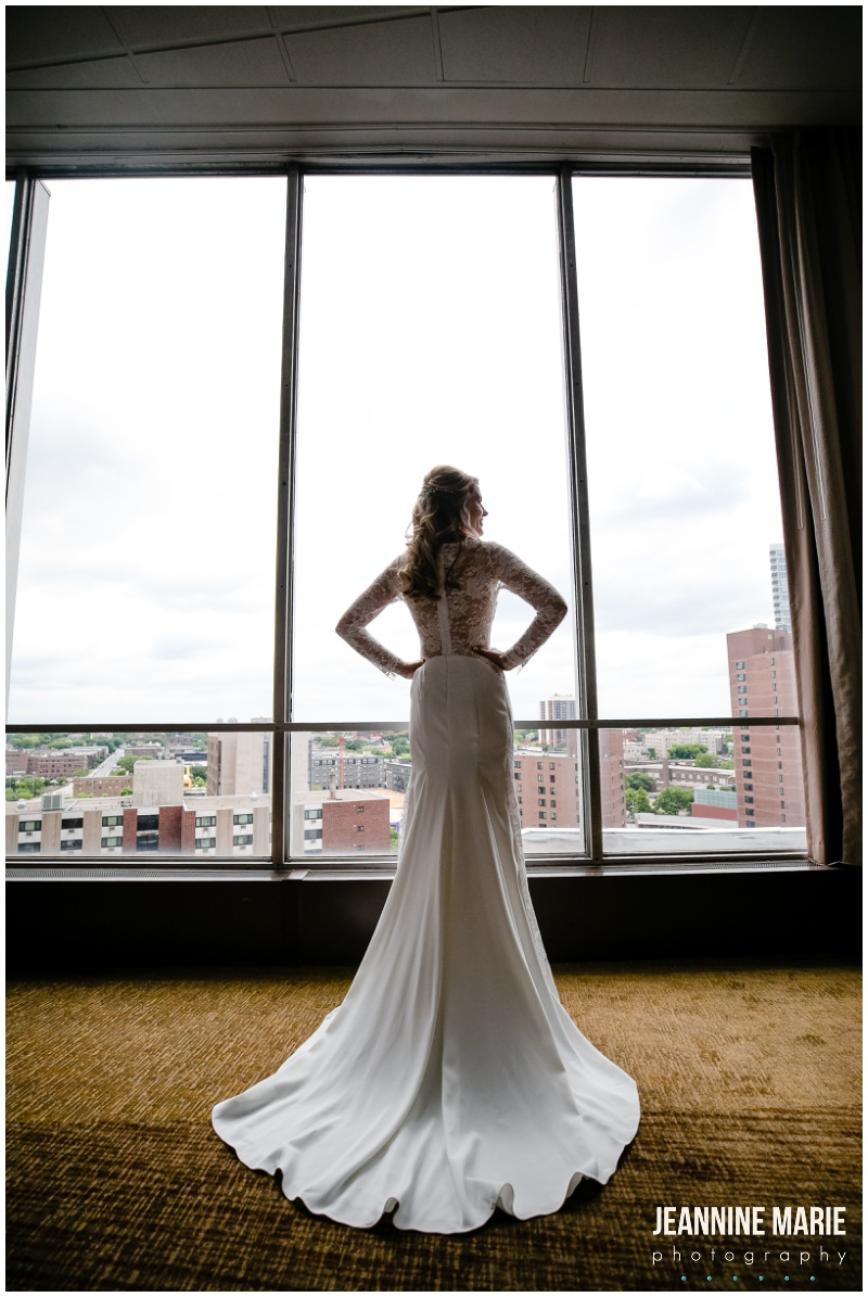 bride, bridal gown, wedding gown, wedding dress, Millennium Hotel, hotel wedding, Minneapolis wedding, Millennium Hotel wedding photographer, Millennium Hotel Dome, Millennium Dome wedding, city skyline, city view, unique wedding venues, Jeannine Marie Photography, Minneapolis wedding photographer, Twin Cities wedding photographer, indoor wedding, summer wedding, pastel wedding, Sky Focus Films, Joy Unspeakable Flowers, Buttercream, Linen Effects, Eric Borchers, Adagio Djay Entertainment, Complete Weddings, Minted, Press Room, Mukti Marketing, Noe Creations, Ali Zacher, M. Elizabeth Bridal, Lela Rose, Badgley Mischka, Diamond Bridal, Amazing Alterations, David's Bridal, Kennedy Blue, Bella Bridesmaids, Bill Levkoff, Hugo Boss, mismatched bridesmaids, navy suit, gray suit, wedding inspiration, lace gown