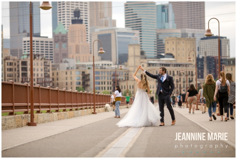 bridge, Stone Arch Bridge, city skyline, Aster Cafe, Aster Cafe wedding, cafe wedding, intimate wedding, small wedding, Minneapolis wedding, Minneapolis cafe, Minneapolis wedding venue, Twin Cities wedding, Mississippi River, bride, groom, Minneapolis wedding photographer, Twin Cities wedding photographer, Saint Paul wedding photographer, Jeannine Marie Photography, ASter Cafe wedding photographer