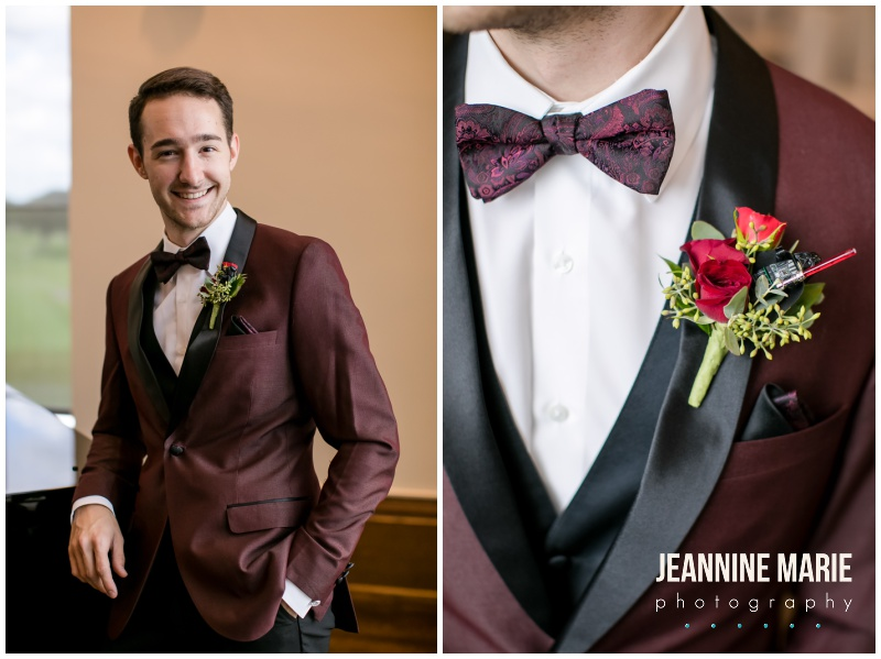 groom, burgundy suit, Star Wars boutonnieres, Interlachen Country Club, Richfield Flowers, Sara's Cakery, Cold Spring Bakery, Linen Effects, Minnesota wedding photographer, Minneapolis wedding photographer, Jeannine Marie Photography, burgundy wedding photographer, golf club wedding, DIY wedding, Star Wars wedding