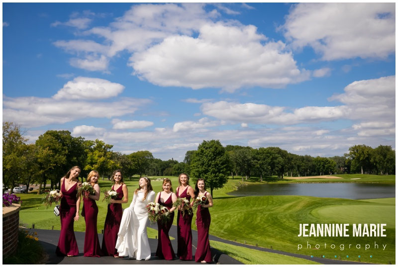 bride, bridesmaids, burgundy dresses, Interlachen Country Club, Richfield Flowers, Sara's Cakery, Cold Spring Bakery, Linen Effects, Minnesota wedding photographer, Minneapolis wedding photographer, Jeannine Marie Photography, burgundy wedding photographer, golf club wedding, DIY wedding, Star Wars wedding