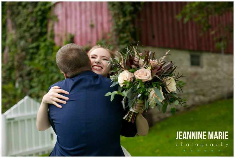 bride, groom, first look, Hope Glen Farm, Sweet Peas Floral, Apples 2 Apples Catering, Instant Request DJ, farm wedding, outdoor wedding, barn wedding, Jeannine Marie Photography, Minnesota wedding photographer, Saint Paul wedding photographer