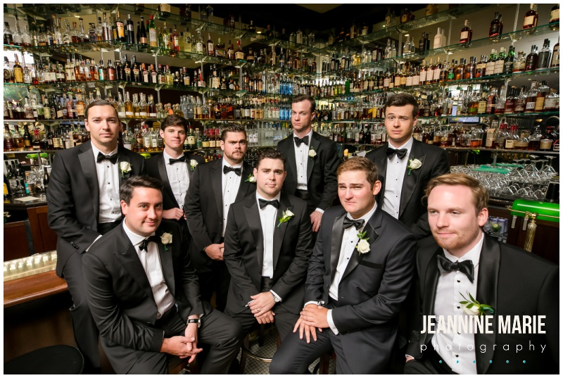 black tux, groom, groomsmen, bar, alcohol, Saint Paul Hotel, Saint Paul Hotel wedding, hotel wedding, Saint Paul wedding, Jeannine Marie Photography, Saint Paul wedding photographer, Minnesota wedding photographer, Church of the Assumption, Florals by Claire, Cafe Latte, Linen Effects, Bluewater King Band, Wildwood Salon, Make Me Blush Artistry, The White Room, Pronovias, Rebecca Minkoff, Bonobos