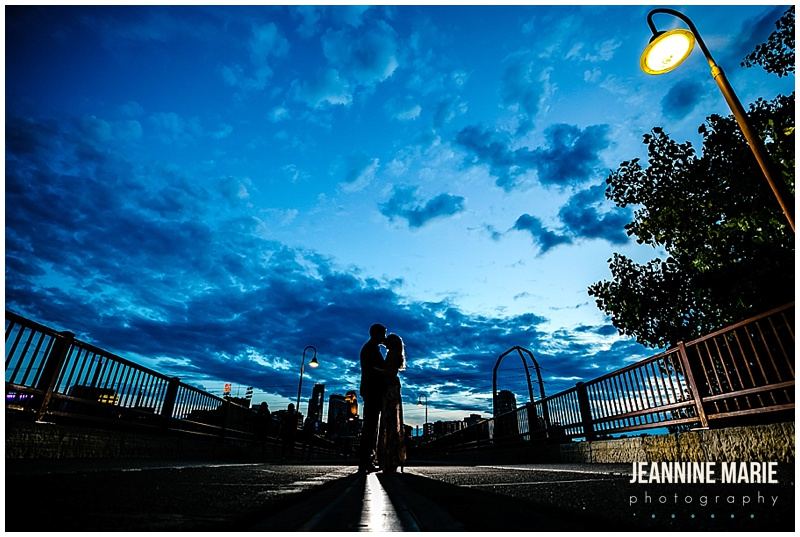 clouds, blue sky, bridge, silhouettes, Lyndale Rose Garden, Stone Arch Bridge, Harriet Island Park, engaged, engagement session, engagement portraits, engagement photos, Minneapolis engagement portraits, Minneapolis engagement session, Twin Cities engagement, Twin Cities engagement photographer, Minnesota engagement photographer, Minnesota engagement session, Minnesota photography, Minneapolis wedding, Minnesota wedding photographer, Jeannine Marie Photography
