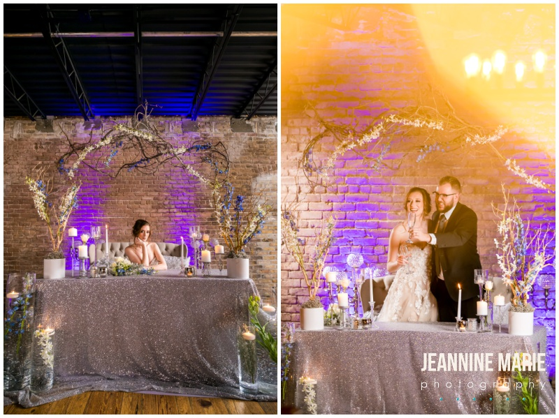 sweetheart table, wedding reception, table decor, uplighting, wedding, Weddings at The Broz, A'BriTin Catering, Florals by Tiffany's, New Prague wedding venue, Twin Cities wedding venue, Jeannine Marie Photography, Minnesota wedding photographer, Minneapolis wedding photographer