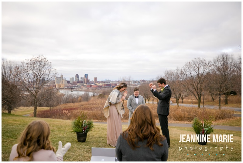 cheers, bride, groom, arms in air, ceremony, wedding ceremony, intimate wedding, small wedding, simple wedding, park wedding, Minneapolis park wedding, Minneapolis park ceremony, winter ceremony, outdoor ceremony, Minnesota wedding photographer, Minneapolis wedding photographer