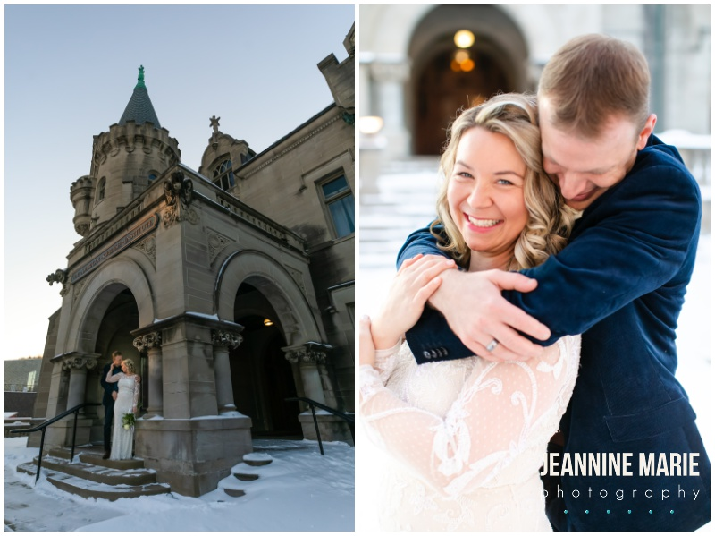 outdoor wedding portraits, bride and groom, winter wedding portraits, snow wedding portraits, Minneapolis wedding venues, Positively Charmed, American Swedish Institute, intimate wedding, winter wedding, snow wedding, Minnesota wedding venues, Minneapolis wedding venues, Minneapolis wedding photographer, Jeannine Marie Photography, Minnesota wedding photographer, winter bride, snow wedding